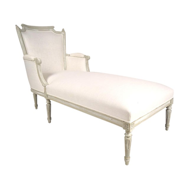 French carved antique louis xvi chaise lounge chairish for Antique french chaise lounge