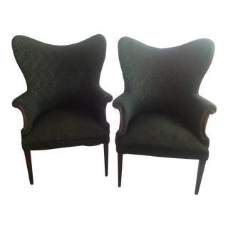 Green Wingback Chairs - A Pair