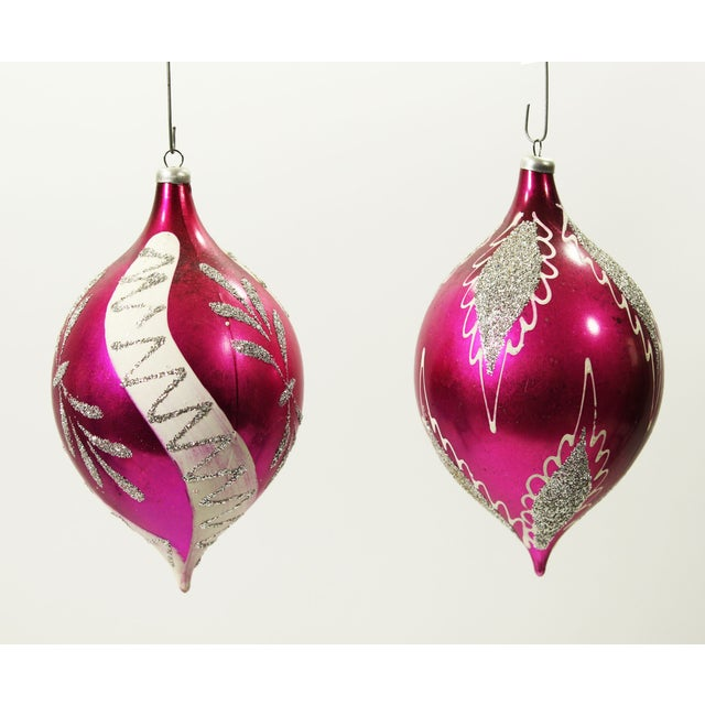 Image of Rare Vintage Teardrop Christmas Ornaments - A Pair