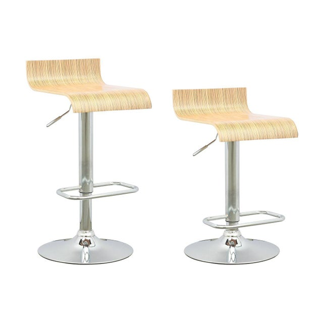 Contemporary Adjustable Bar Stool - A Pair - Image 2 of 3