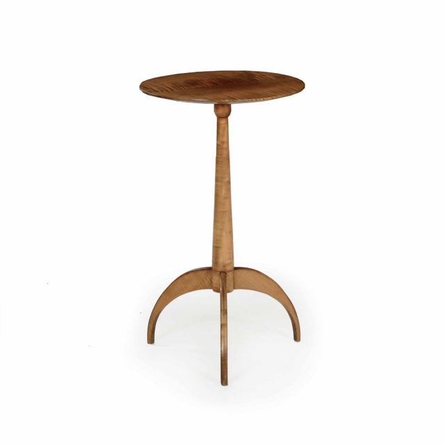 American Shaker Style Handmade Tiger Maple Candlestand Side Table - Image 11 of 11