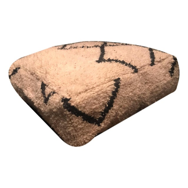 Authentic Beni Ourain Vintage Moroccan Pouf Floor Cushions - a Pair - Image 8 of 10