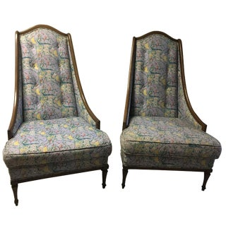 High-Back Chinoiserie Armchairs & Ottoman Set
