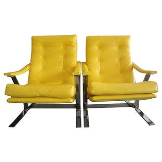 Yellow Naugahyde Armchairs - A Pair