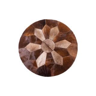 "Handmade Cowhide Patchwork Area Round Rug - 5'2"""