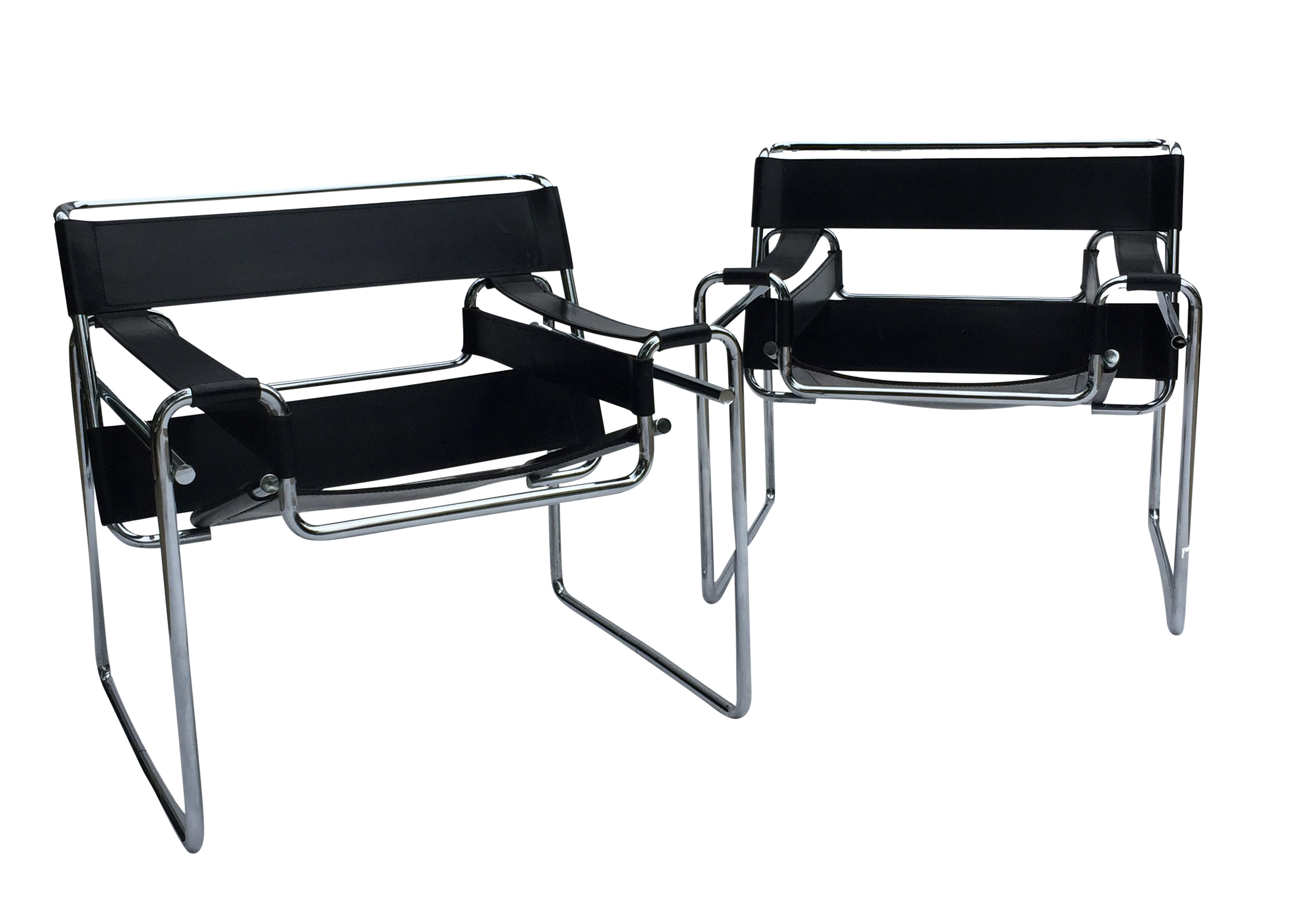 marcel breuer chairs black leather set of two