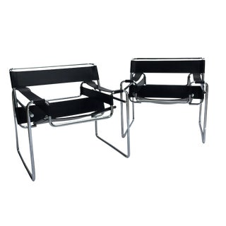 "Marcel Breuer ""Wassily' Chairs Black Leather, Set of Two"