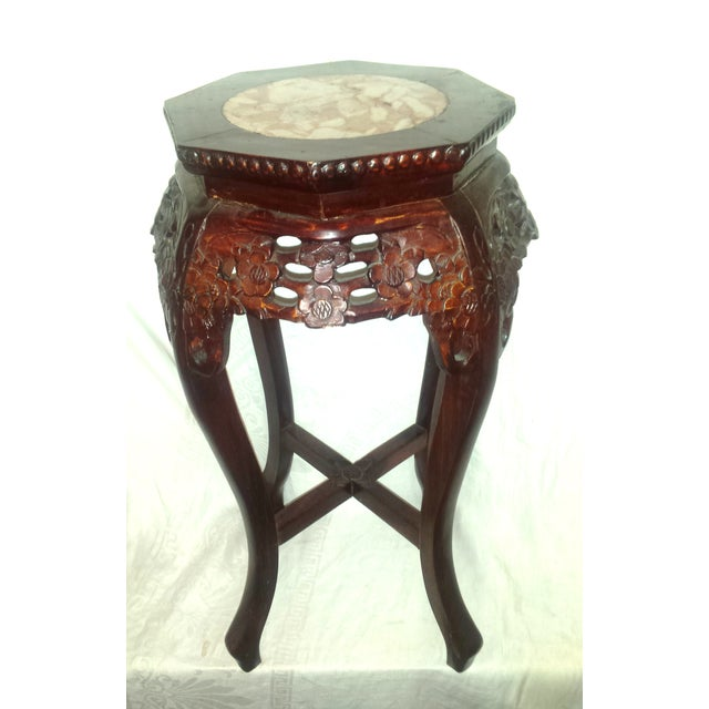 Marble And Carved Wood Accent Table: Red Lacquer Chinese Carved Wood Marble Top Table