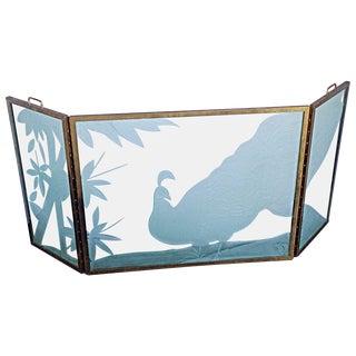 3-Panel Brass & Glass Firescreen
