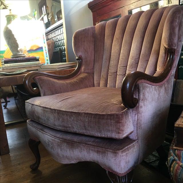 Antique Pink Velvet Scallop Back Chair Chairish