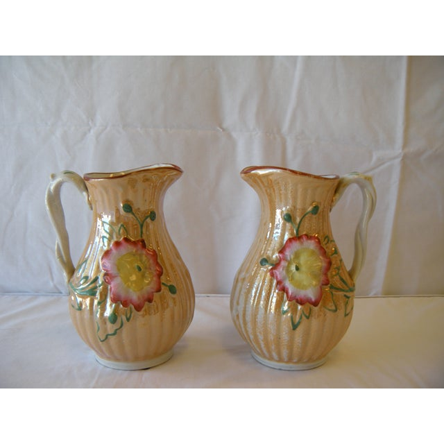 Botanical Lusterware Pitchers - A Pair - Image 2 of 4
