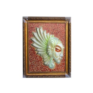 European Glass Angel Face Wall Art