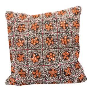 Asian White & Orange Beaded Pillow