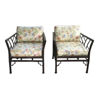 Chinese Chippendale Faux Bamboo Chairs - A Pair