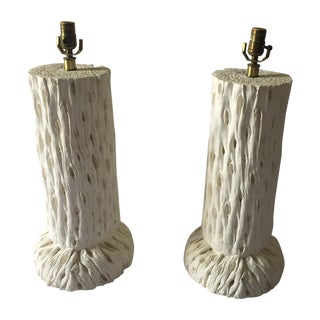 John Dickinson Style Tree Trunk Lamps - A Pair