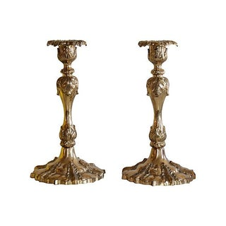 Ornate Brass Candleholders - A Pair