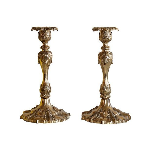 Image of Ornate Brass Candleholders - A Pair