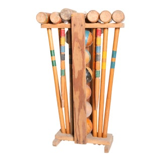 Vintage South Bend Croquet Set w Original Wood Stand