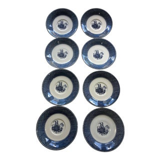Currier & Ives Blue Steamboat Plates - Set of 8