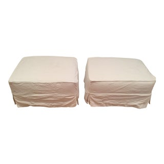 Crate & Barrel Harborside Slipcovered Ottomans - A Pair