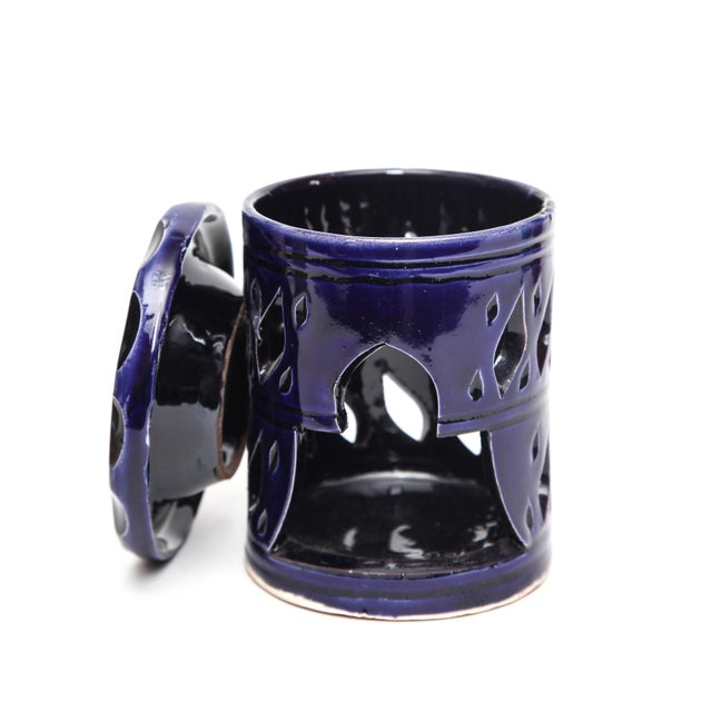 Atlas Ceramic Candle Holder - Navy Blue - Image 2 of 3