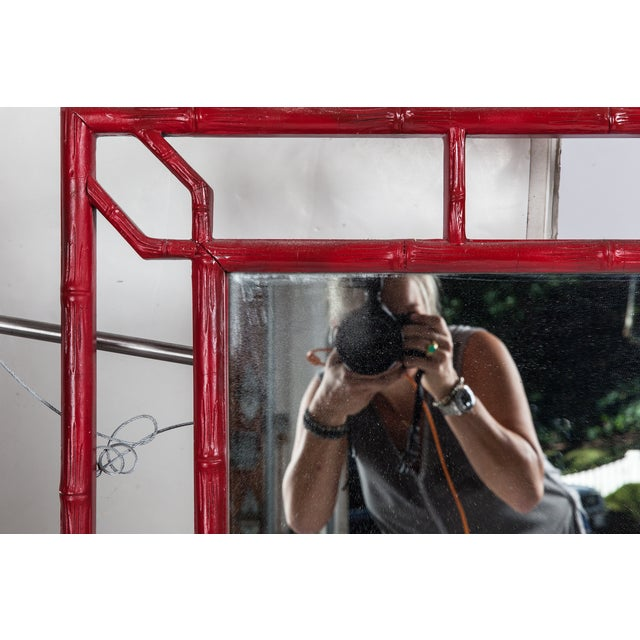 Red Faux Bamboo Mirror - Image 4 of 4