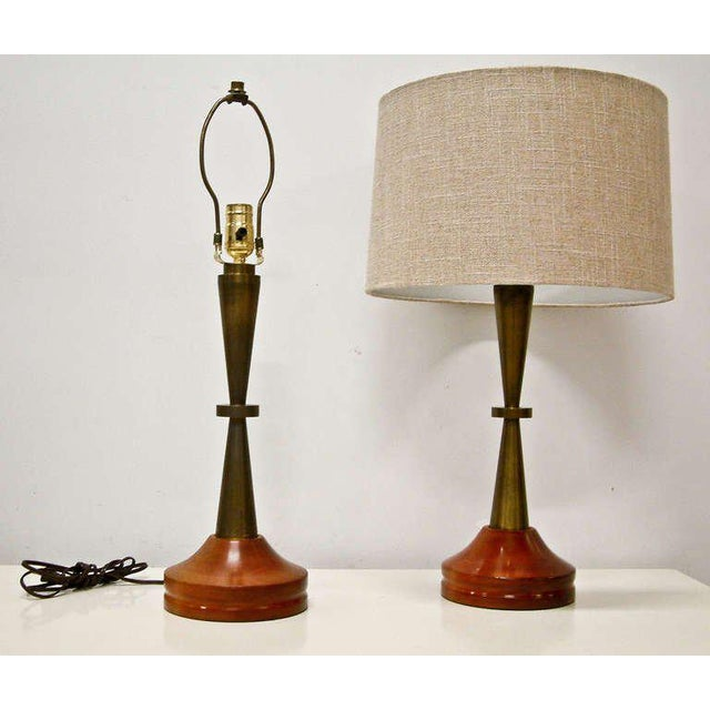 Bronze and Primavera Finish Wood Base Lamps - A Pair - Image 4 of 8