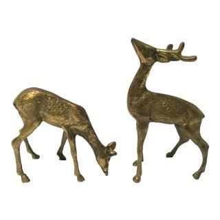 Vintage Brass Deer Figurines - Pair