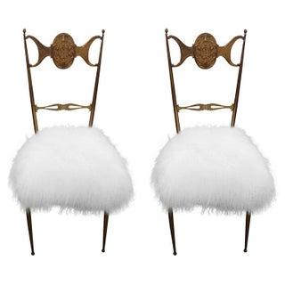 Brass Chiavari Chairs in Mongolian Lamb - Pair