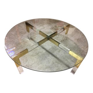 Charles Hollis Jones Metric Lucite & Brass Coffee Table