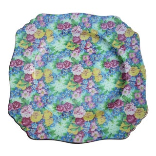 Square Floral Chintz Plate