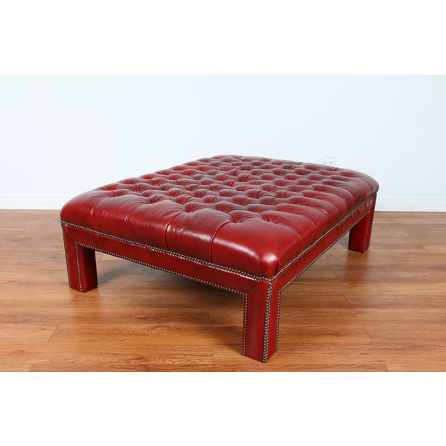 Bernhardt Interiors Red Leather Ottoman - Image 5 of 9