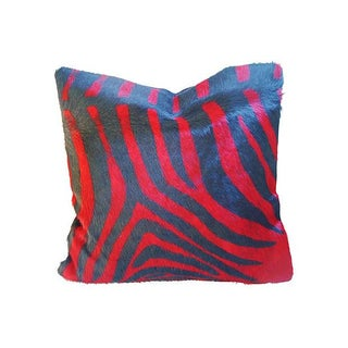 Red & Black Stenciled Cowhide Pillow - A Pair