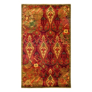 "Suzani, Hand Knotted Red Wool Area Rug - 3' 1"" X 5' 0"""