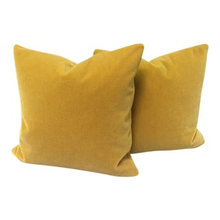 Gold Wool Velvet Pillows - a Pair
