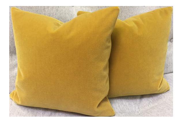 Gold Wool Velvet Pillows   A Pair