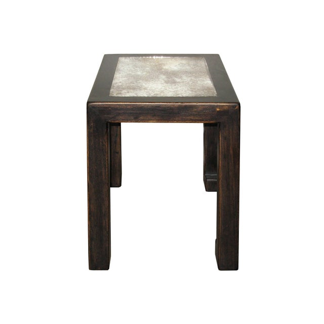 Antiqued Black Lacquer Mirrored Side Table - Image 3 of 5