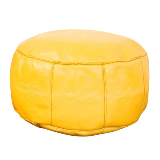 Antique Leather Moroccan Pouf Ottoman Fly Yellow
