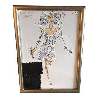 Framed Givenchy Croquis of a Black Cocktail Dress