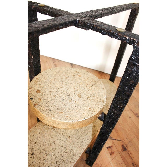 Minimalist Brutalist Fused Bronze, Iron and Concrete Patio Table Base - Image 8 of 10