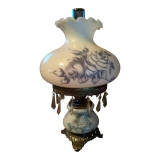 Blue Roses Hurricane Parlor Lamp