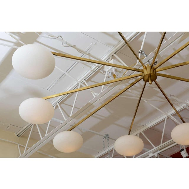 Mid-Century Modern Ten-Opaline Shade Chandelier in the style of Arredoluce - Image 7 of 10