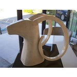 Image of Large Rams Head Sculpture in Travertine Patchwork