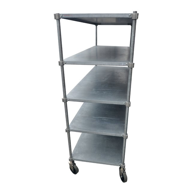 metal shelving unit on wheels chairish. Black Bedroom Furniture Sets. Home Design Ideas