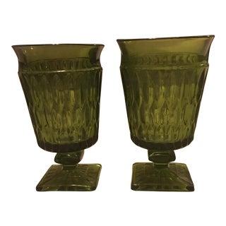 Vintage Green Cut Glass Stemware - A Pair