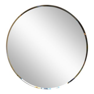 Modern Beveled Edge Detail Circular Mirror