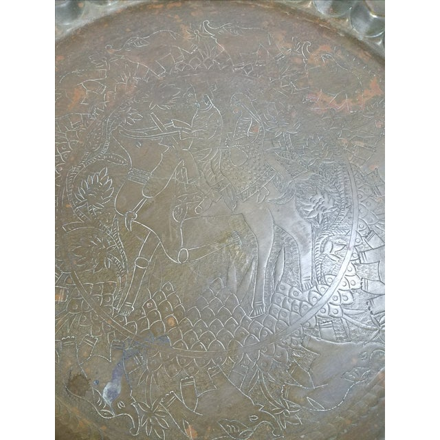Image of Folding Middle Eastern Travel Table With Brass Top