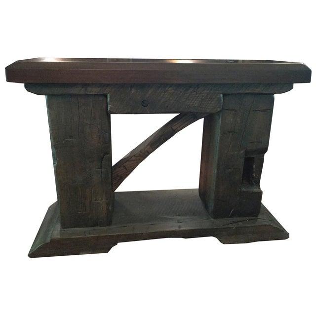 Rustic Custom Made Salvaged Barn Wood Bench - Image 1 of 8