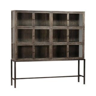 Oak & Iron Glass Door Cabinet