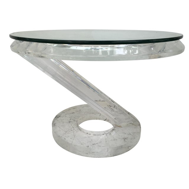 Solid Acrylic Lucite Side Table 1980s - Image 1 of 5
